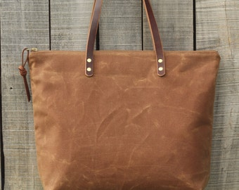 The Everyday Tote in SAHARA  //  Waxed Canvas Tote Bag  //  Large Zipper Tote  //  Leather Straps