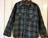Plaid Wool blend Mens Flannel Vintage Shirt,Great Colors sz Lg