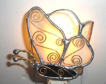 LT Stained glass Butterfly night light lamp OOAK made with peach light orange opal glass is hand made in the USA with wire work on top