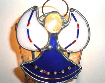 LT Stained glass cobalt blue Angle night light lamp is my hand made with a beautiful cobalt blue opal glass for the dress,  white wings