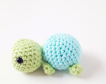 Crochet Tiny Turtle - Light blue and Apple Green