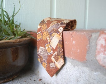Vtg Valentino Cravatte Necktie Italian Handmade Silk Tie Suit and Tie Travel Theme Book Historical Rustic Brown Spring Fashion Prep Hipster