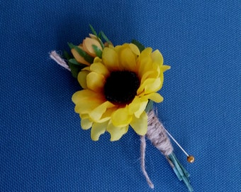 Ready to Ship Mens Boutonnieres Bridal party autumn yellow silk sunflowers accessories groomsmen buttonholes artificial fall