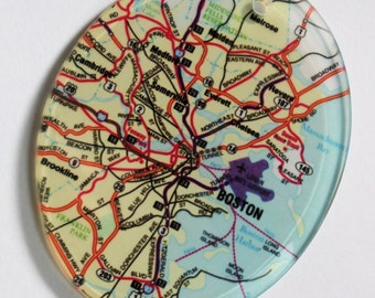 Custom Map Glass Ornament / Housewarming, Engagement, Wedding Gift