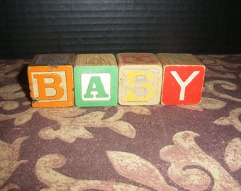 Vintage Colored Wooden Children Toy Blocks Spelling BABY Wood Block Names Words Nursery Gift