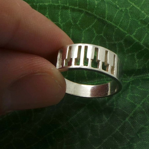 Silver Music Piano Ring Piano Wedding Band Pianist Gift