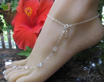 Pale Cream Champagne Pink Sterling Silver Adjustable Anklet and Toe Ring with Beautiful Crystal Beads also in 6 other colors