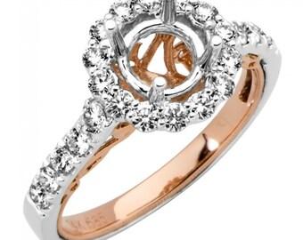Two Tone Diamond Ring Setting, Rose Gold Ring, Rose Gold Setting, Semi Mount, Diamond Engagement Ring Setting, Halo Engagement Ring