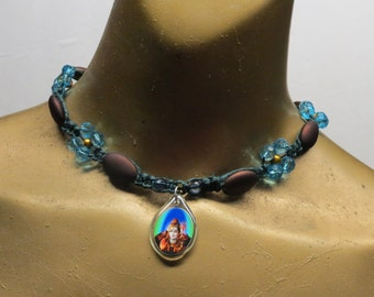 CLEARANCE! Hindu god Shiva and blue flowers choker necklace made with dyed green hemp.  CHK-106