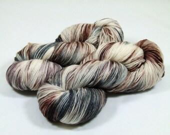 Hand Dyed Yarn - Sock Yarn - Fingering Yarn - Superwash Merino / Nylon - Sticks and Stone - Brown / Cream / Gray / Black