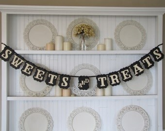 SWEETS and TREATS Banner, Wedding Decor, Party Decor, Wedding Sign, Halloween Sign