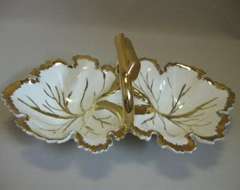 Vintage Double Leaf Candy Nut Dish White With Gold Handle & Veins Ceramic