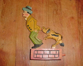 Carved and Painted Man and Dog Soviet Union Animated Carving Vintage Toy