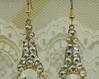 Austrian CRYSTAL Clear Rhinestone EARRINGS on Brass Filigrees - WEDDING Glam Romance