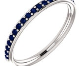Stackable Half Eternity Blue Sapphire Wedding Band Ring   In 14k White  ,Rose or Yellow Gold ST233723  *****On Promotion***** Gem1211