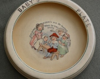 ROSEVILLE Juvenile plate, Tom the Piper's Son, feeding plate, baby plate ca 1916-30's