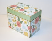 Floral Recipe Box, Mint Green and Pink, 4x6 Wood Box, Green Recipe Box, Keepsake Box, Recipe Organizer