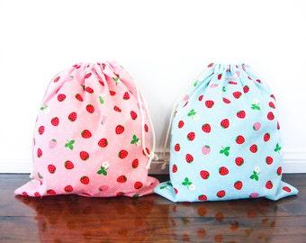 Large Drawstring Bag / Library Bag / Laundry Bag - Strawberry (Pink or Blue)
