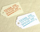 Thank You Tag - Wedding Favor Tag - Welcome Bag Tag - Modern Graphic Typographic Design - Luggage Tag Destination Travel - Multiple Colors