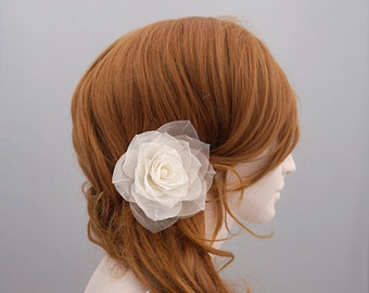 Pure Silk Wedding Hair Flower, Rose Bridal Hair Flower, Wedding Flower Headpiece, Bridal Hair Accessory, Freshwater Pearl Flower Clip