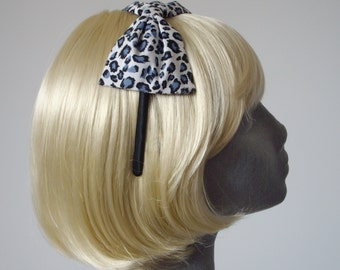 Blue Headband- Blue Leopard Bow Headband