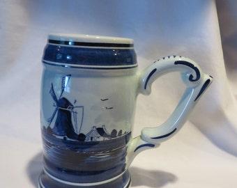 """6 3/4"""" Vintage Delft Blue Stein"""
