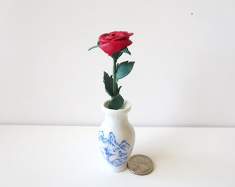 Miniature red rose- miniature stem rose -Leather rose - mini Red flower- Wedding- 3rd Anniversary- Gift -Sexy Flower Valentines Day