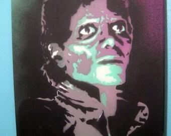 Michael Jackson THRILLER Zombie Stencil Portrait Painting by Beau Pope - Original All Hand-Cut Spray Paint Artwork