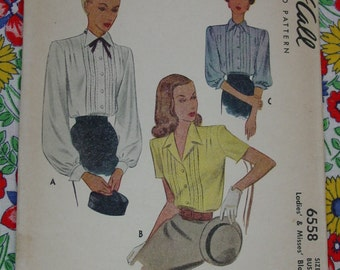 Vintage Pattern c.1946 McCall's No.6558 Blouses, Size 14, Bust 32