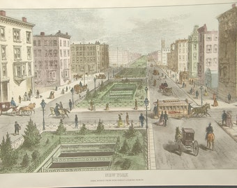 Vintage New York City Art print framed, Park Avenue, Victorian scene, Colored print, Antique print, Horse and Buggy, Office decor