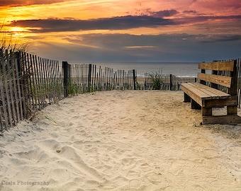 Bethany Beach Sunrise, Sand Dune Path, Ocean Surf, Wood Bench, Warm Orange Sunlight, Sun Rays, wall art