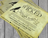 Witch's Ball Printable Halloween Party Invitation - MacBeth, Shakespeare, Raven, Wicked Party - HPH7000