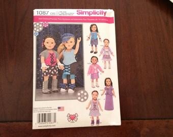 Simplicity Pattern 1087 Steampunk Wardrobe Pattern for 18 Inch Dolls new, Uncut