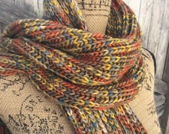 Knit Scarf, Chunky Scarf, Merino, Fisherman's Ribbed Scarf