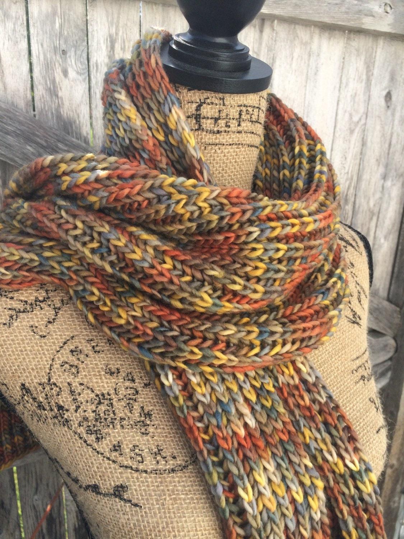 Knit Scarf Chunky Scarf Merino Fishermans Ribbed Scarf