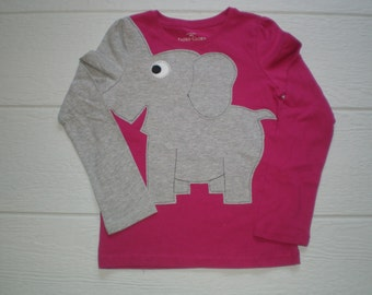Elephant trunk sleeve t-shirt,  childrens size 6/6x or 7/8, girls small or medium, magenta,  dark PINK, elephant shirt, elephant t-shirt