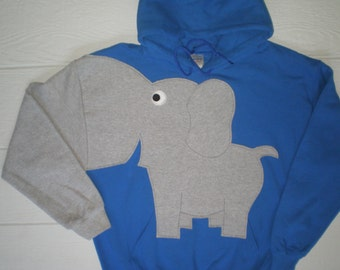 Elephant Sweatshirt, trunk sleeve, Elephant HOODIE, elephant sweater, jumper, Royal Blue, Adult size Large elephant shirt.