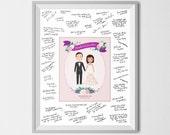 Wedding Guestbook, Bride & Groom Wedding Illustration, Wedding Portrait, Wedding Anniversary Gift, Wedding Poster, Wedding Program