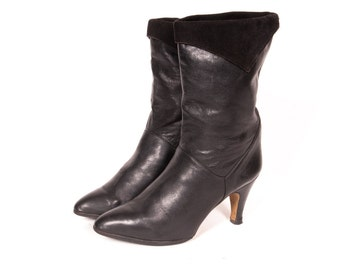 Short 1980's High Heel Slouch Boot Size 9