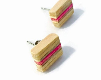 Recycled Skateboard Maple and Bubblegum Wood Stud Earrings