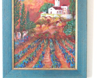 Vineyard painting/french chateau landscape