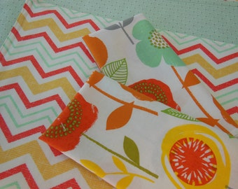 Chevron Reversible Placemats - Orange Placemats - Yellow Placemats - Mint Green Placemats -  Coordinating Flower Napkins - Placemat Napkin