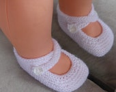 3ply or 4ply garter stitch baby shoes with two ankle straps, PDF knitting pattern - Tania