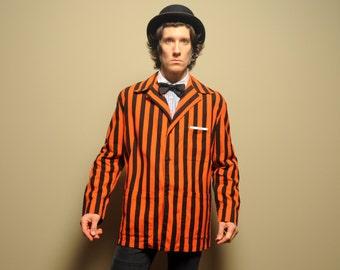 vintage 50s Princeton alumni jacket reunion blazer orange black stripe 1950 Princeton Tigers barber shop Gatsby style XL 44 extra large
