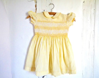 French Vintage dress  smocked baby girl yellow and white 18-24 months