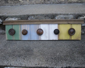 Rustic Wall Rack Vintage Wood Knobs Home Decor Jewelry Hanger Coat Rack Handmade Recycled Materials
