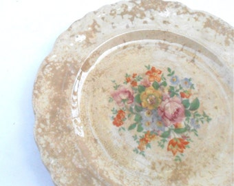Vintage Orange Floral TST Co Plate 6.25 Inch Charger Tan Light Brown Scallop Taylor Smith Taylor Fine China Ceramic Desert Plate Porcelain