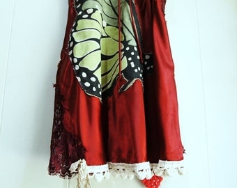 boho upcycled slip/ Butterfly tunic top/ cottage chic/ burgundy satin slip