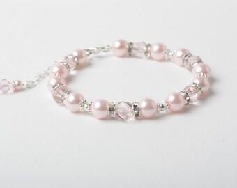 Pink Bridesmaid bracelet, Pink Wedding bracelet, Pearl and crystal bracelet, wedding jewelry, bridesmaid gift, Rhinstone bracelet