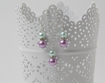 bridesmaid jewelry set, mint and purple earrings and necklace set, mint and purple wedding jewelry, bridesmaid jewelry, pearl jewelry set